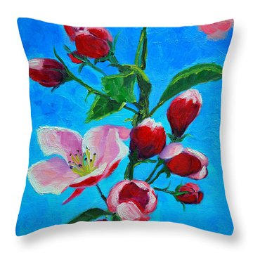 Throw Pillow featuring the painting Pink Spring by Ana Maria Edulescu