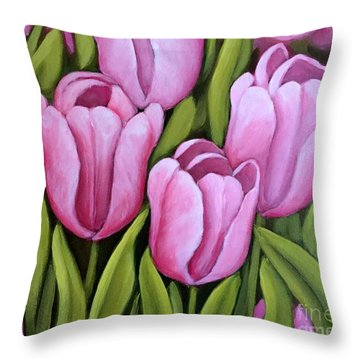 Pink Spring Tulips Throw Pillow
