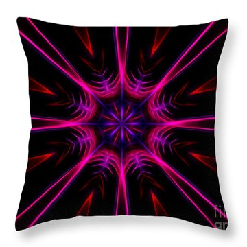 Pink Starburst Fractal  Throw Pillow
