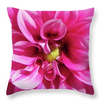Pink Summer Flower Macro Throw Pillow