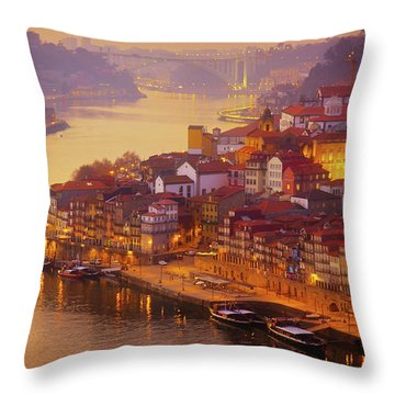 Pink Sunset In Porto Throw Pillow