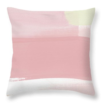 Pink Sunset Stripe 1- Art By Linda Woods Throw Pillow