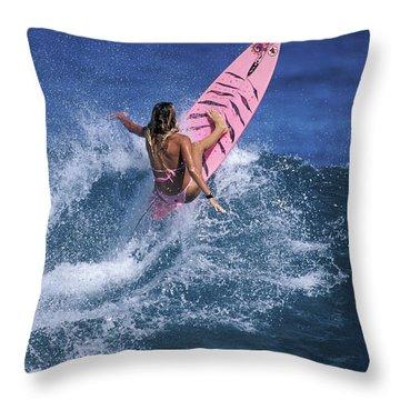 Pink Surfer. Throw Pillow