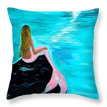 Pink Tail Throw Pillow by Leslie Allen