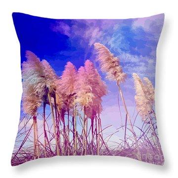 Pink Toi Toi Grasses Throw Pillow