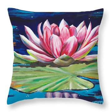 Throw Pillow featuring the painting Pink Tranquility by Mary Scott