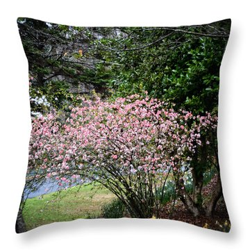 Pink Tree And Daffodils Throw Pillow