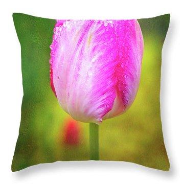 Pink Tulip In The Rain Throw Pillow