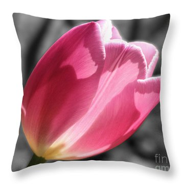 Pink Tulip On Black And White Throw Pillow