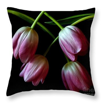 Throw Pillow featuring the photograph Pink Tulip Weave by Shirley Mangini