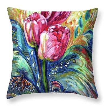 Pink Tulips And Butterflies Throw Pillow by Harsh Malik