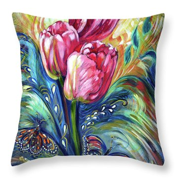 Pink Tulips And Butterflies Throw Pillow