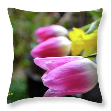 Pink Tulips Row Throw Pillow