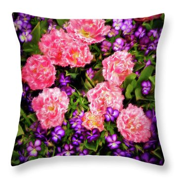 Pink Tulips With Purple Flowers Throw Pillow