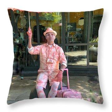 Pink Umbrella Man Throw Pillow