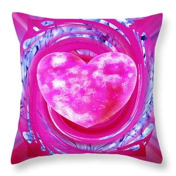 Pink Valentine Heart Throw Pillow