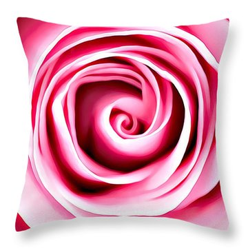 Throw Pillow featuring the mixed media Pink Vortex by Lucia Sirna