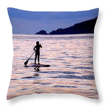Pink Water Girl Throw Pillow by Jim Walls PhotoArtist