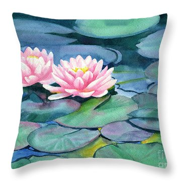 Pink Water Lilies With Colorful Pads Throw Pillow