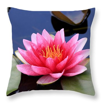 Pink Water Lily In A Pond Throw Pillow