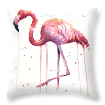 Pink Watercolor Flamingo Throw Pillow
