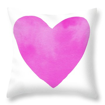 Throw Pillow featuring the mixed media Pink Watercolor Heart- Art By Linda Woods by Linda Woods