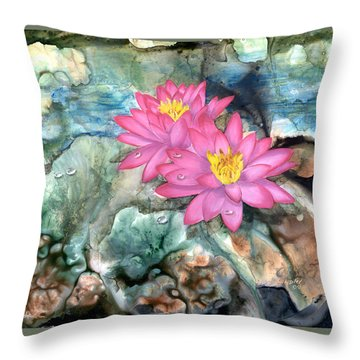 Throw Pillow featuring the painting Pink Waterlily by Sherry Shipley