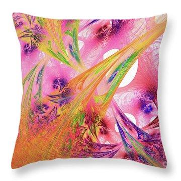 Throw Pillow featuring the digital art Pink Web by Deborah Benoit