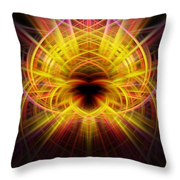 Pink/yellow Twirls Throw Pillow by Cherie Duran