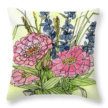 Pink Zinneas Throw Pillow