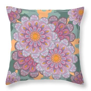 Pink Zinnia Mandala Throw Pillow