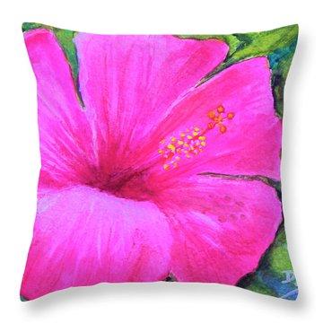 Pinkhawaii Hibiscus #505 Throw Pillow by Donald k Hall