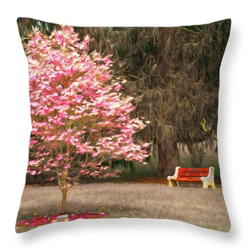 Pinky And The Bench - Impressionism Throw Pillow