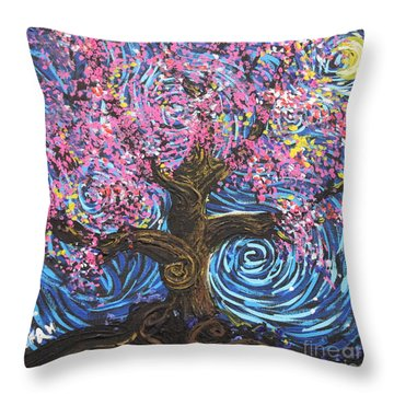 Pinky Tree Throw Pillow