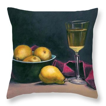 Pinot And Pears Still Life Throw Pillow