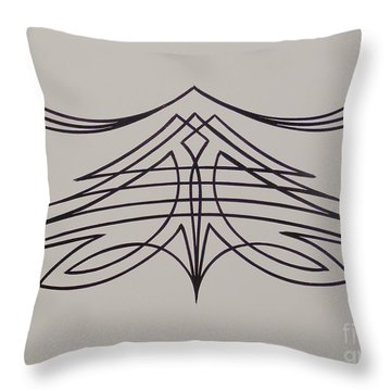 Throw Pillow featuring the painting Pinstripe Black On White by Alan Johnson