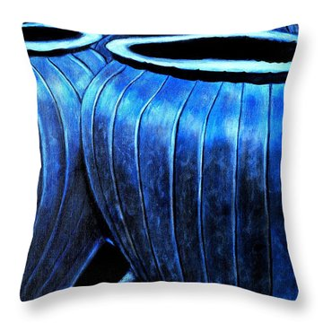 Pinstripe Pots Throw Pillow