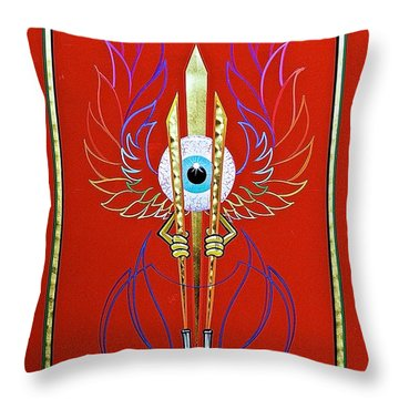 Throw Pillow featuring the painting Pinstriper's Icon by Alan Johnson