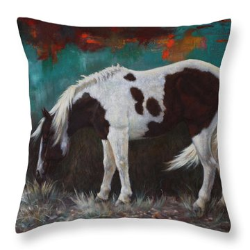 Throw Pillow featuring the painting Pinto by Harvie Brown