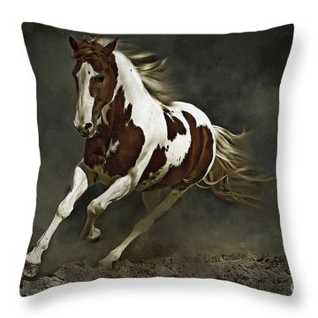 Pinto Horse In Motion Throw Pillow