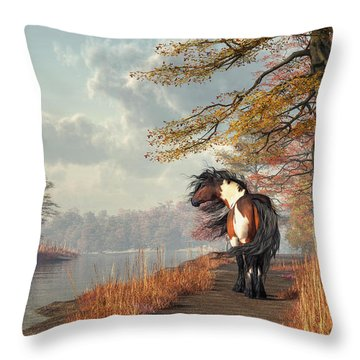 Pinto Horse On A Riverside Trail Throw Pillow by Daniel Eskridge