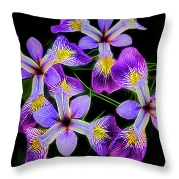 Pinwheel Purple Iris Glow Throw Pillow