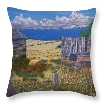 Pioneer Homestead Throw Pillow by Stanza Widen