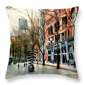 Throw Pillow featuring the painting Pioneer Square by Marti Green