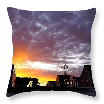 Pioneer Town Sunset Throw Pillow