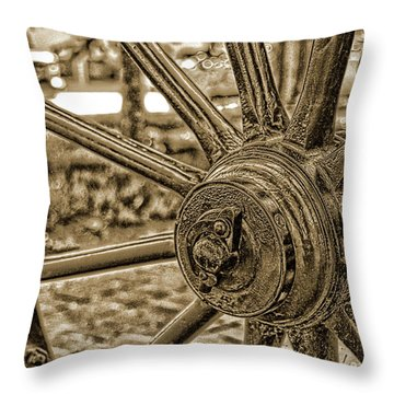 Throw Pillow featuring the photograph Pioneer Wagon Wheel by Marie Leslie
