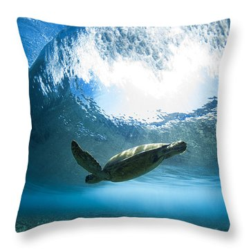 Pipe Turtle Glide Throw Pillow by Sean Davey