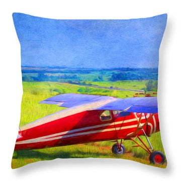 Piper Cub Airplane In Kansas Prairie Throw Pillow