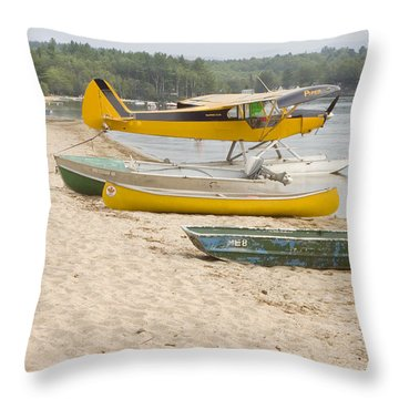 Piper Super Cub Floatplane Near Pond In Maine Canvas Poster Print Throw Pillow