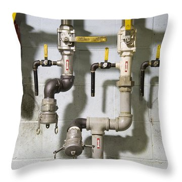 Pipes And Valves Throw Pillow by Alexey Stiop